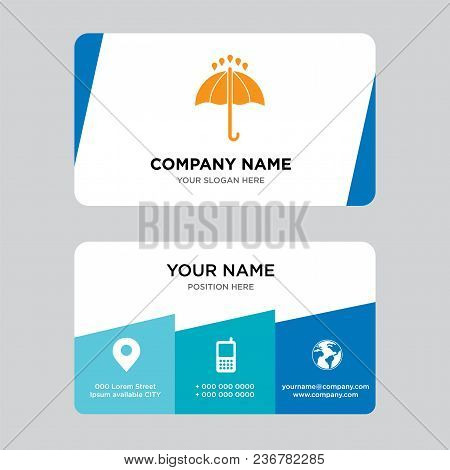 Black Opened Umbrella Business Card Design Template, Visiting For Your Company, Modern Creative And