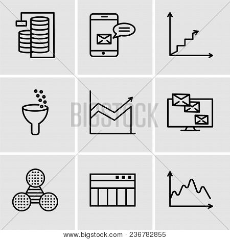 Set Of 9 Simple Editable Icons Such As Data, Table For Data, Pie Graphic Comparison, Monitor Analyti
