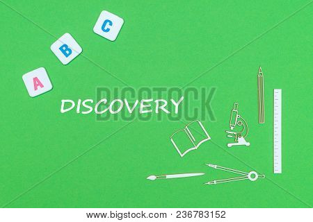 Concept School, Text Discovery, School Supplies Wooden Minitures, Abc Letters On Green Backboard