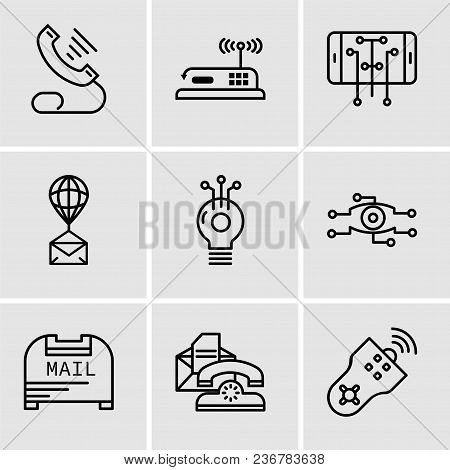 Set Of 9 Simple Editable Icons Such As Remote Control, Telephone, Mail Box, Analysis, Idea, Air Ball