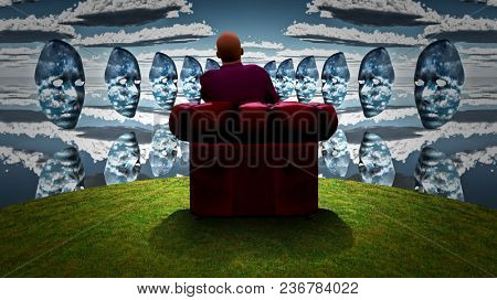 Surreal composition. Man sits in red armchair and observes women`s masks with clouds pattern. 3D rendering