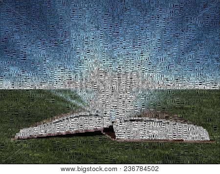 Opened book, door to another world. Image composed entirely of words. 3D rendering