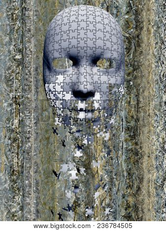 Puzzle falling mask composition. 3D rendering