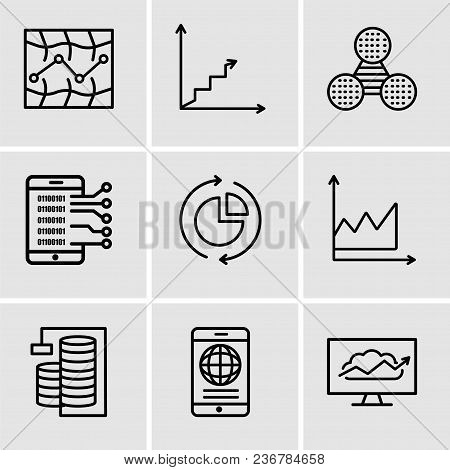 Set Of 9 Simple Editable Icons Such As Cloud Analysis, Mobile Phone Globally Connected, Database Ana