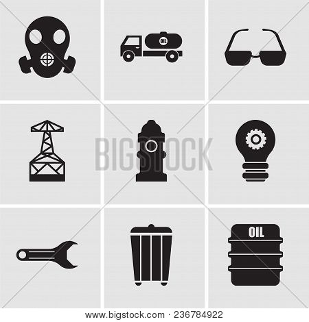 Set Of 9 Simple Editable Icons Such As Oil, Trash, Adjustable Wrench, Setting Lamp, Fire Hydrant, Oi