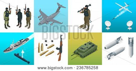 Isometric Icons Submarine, Aircraft, Soldiers. Set Of Military Equipment Flat High Quality Military