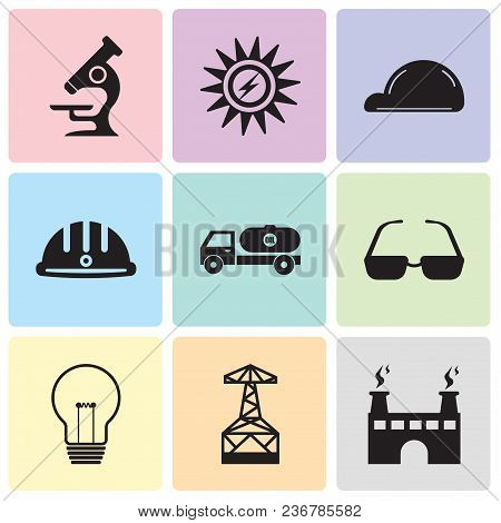 Set Of 9 Simple Editable Icons Such As Factory, Oil Derrick, Bulb, Sunglasses, Tipper, Hard Hat, Hel
