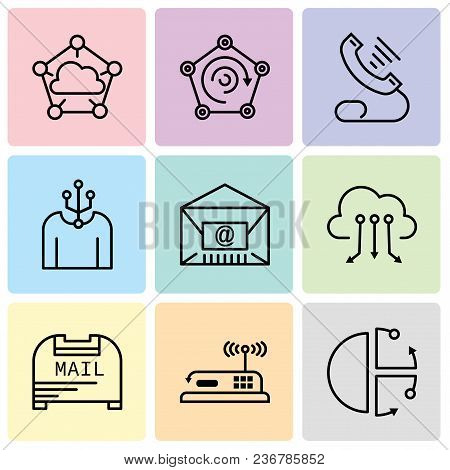 Set Of 9 Simple Editable Icons Such As Cube, Router, Mail Box, Cloud Computing, Mail, Human, Telepho