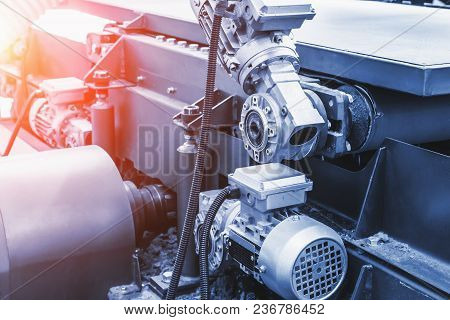 Industrial Automotive Machine Tool Equipment Close Up, Abstract Industry Manufacturing Metalwork Bac