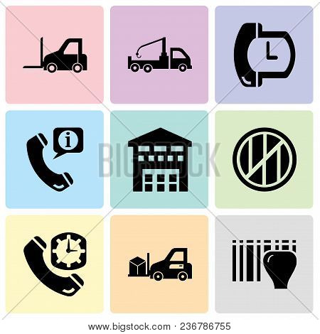 Set Of 9 Simple Editable Icons Such As Identification For Delivery With Bars, Delivery Transportatio