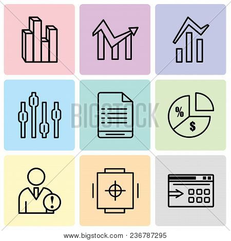 Set Of 9 Simple Editable Icons Such As Data Export With An Arrow, Safe Box, Data Analytics, Pie Char