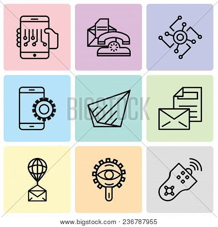 Set Of 9 Simple Editable Icons Such As Remote Control, View, Air Balloon, Mail, Send, Setup, Cpu, Te
