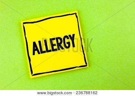 Handwriting Text Allergy. Concept Meaning Damages In Immunity Due To Hypersensitivity Get It Diagnis