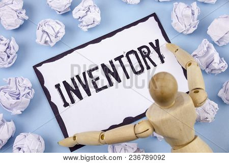 Handwriting Text Writing Inventory. Concept Meaning Complete List Of Items Like Products Goods In St