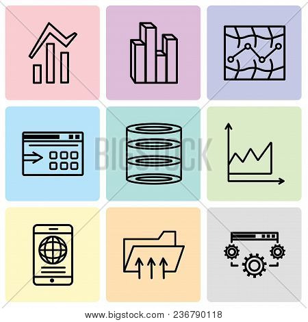 Set Of 9 Simple Editable Icons Such As Data Settings, Connected Folder Data, Mobile Phone Globally C