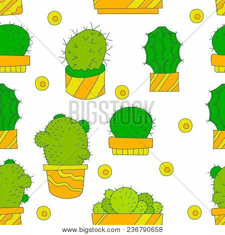Vector Seamless Pattern With Cactus. Cacti Texture