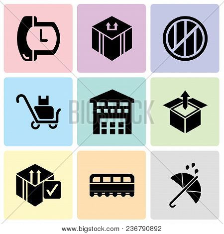 Set Of 9 Simple Editable Icons Such As Protection, Train Front, Delive Box Verification, Delivery Bo