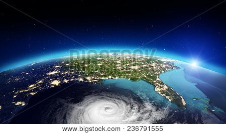America Cyclone. Elements Of This Image Furnished By Nasa. 3d Rendering