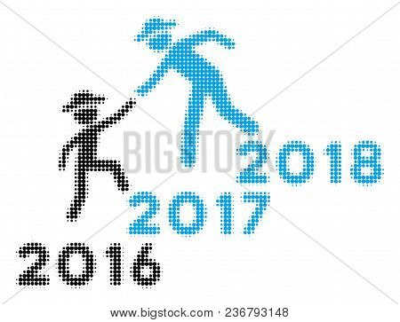 Annual Gentlemen Career Help Halftone Vector Icon. Illustration Style Is Dotted Iconic Annual Gentle