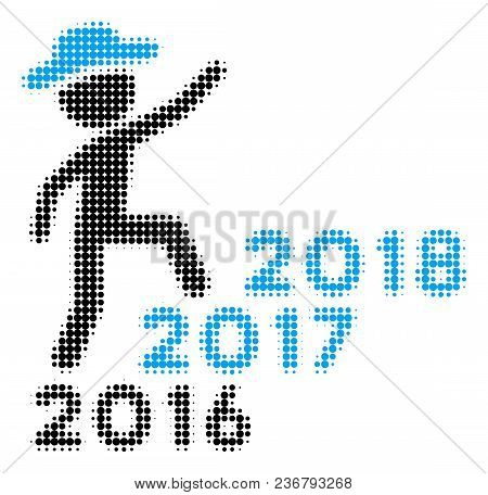 Gentleman Steps Years From 2016 To 2018 Halftone Vector Icon. Illustration Style Is Dotted Iconic Ge