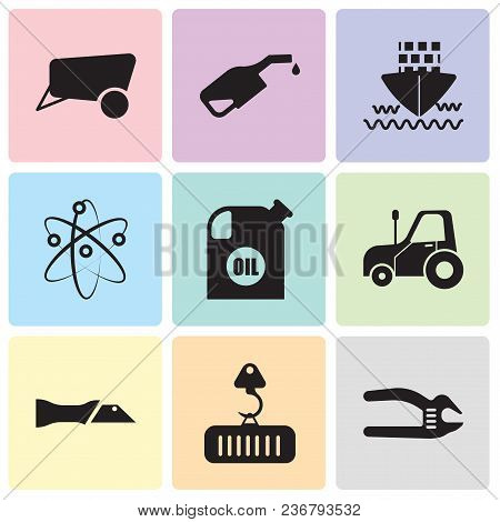 Set Of 9 Simple Editable Icons Such As Adjustable Spanner, Crane With Load, Knife, Autotruck, Oil Co