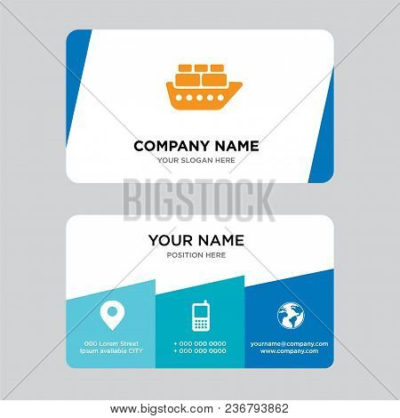 Containers On Oceanic Ship Business Card Design Template, Visiting For Your Company, Modern Creative