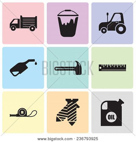 Set Of 9 Simple Editable Icons Such As Oil Container, Tie, Meter, Ruler, Hammer, Pump, Autotruck, Co