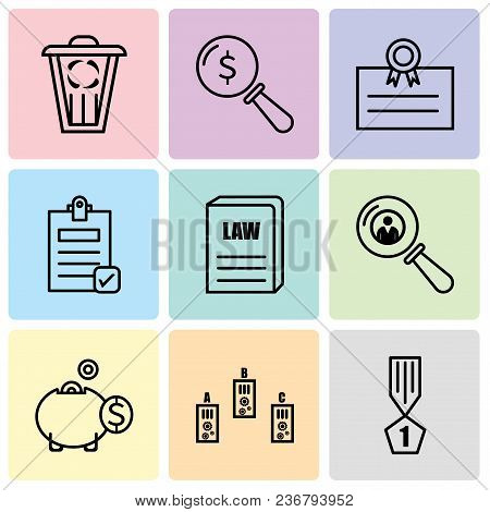 Set Of 9 Simple Editable Icons Such As Winner, Folder, Money Box, Search Person, Law Book, Check Doc