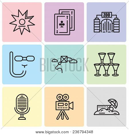 Set Of 9 Simple Editable Icons Such As Sand, Video Camera, Microphone, Glasses, Kite, Diving Mask, Z