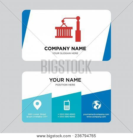 Container On A Crane Business Card Design Template, Visiting For Your Company, Modern Creative And C