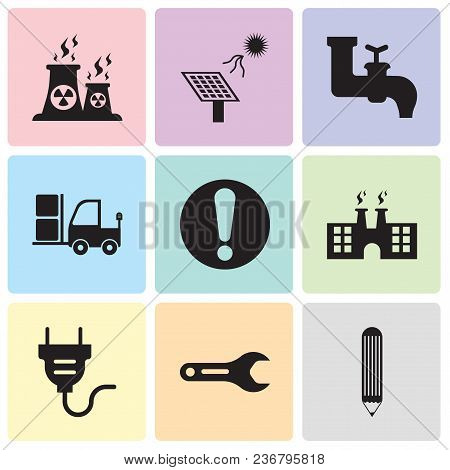 Set Of 9 Simple Editable Icons Such As Pencil, Pipe Wrench, Electrical Plug, Factory, Exclamation, T