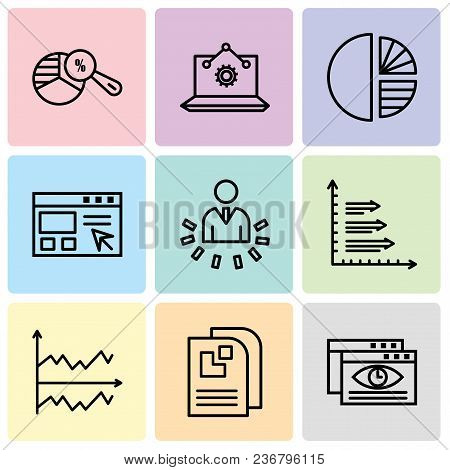 Set Of 9 Simple Editable Icons Such As Data Viewer, Data Page, Chart, Bars, User Data Analytics, Dat