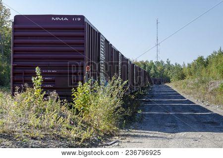 Millinocket, Maine, Usa - September 27, 2011: String Of Boxcars On Siding Near Millinocket, Maine