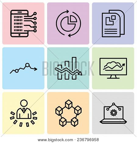 Set Of 9 Simple Editable Icons Such As Laptop Analysis, Data Interconnected, User Data Analytics, Cl