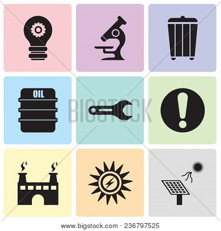 Set Of 9 Simple Editable Icons Such As Solar Battery, Sun Energy, Factory, Exclamation, Pipe Wrench,