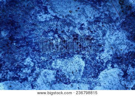 Ultra Blue Tin Texture, Steel Wall Surface Or Metallic Aluminium Background.