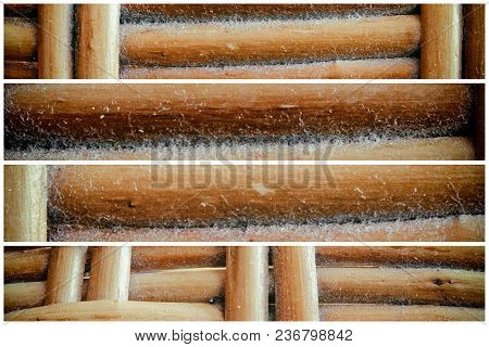 Wooden Wicker Texture Of Basketwork For Background Use.