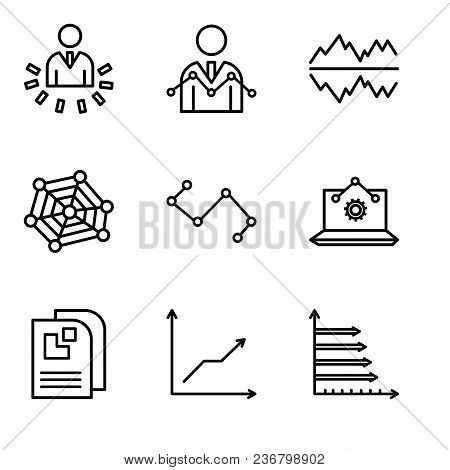 Set Of 9 Simple Editable Icons Such As Analytic, Data Analytics Descending, Data Page, Laptop Analys