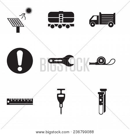 Set Of 9 Simple Editable Icons Such As Capsule, Puncher, Ruler, Meter, Pipe Wrench, Exclamation, Lor