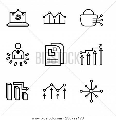 Set Of 9 simple editable icons such as Data analytics wheel, Decreasing chart, 3d data analytics bars, Binary Processed Mobile Analysis, Data page, User data analytics, Stock dealing, Increasing poster