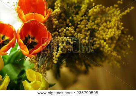A Flower Bouquet Of Twigs Of Yellow Mimosa And Red And Yellow Tulips. Spring Mood.