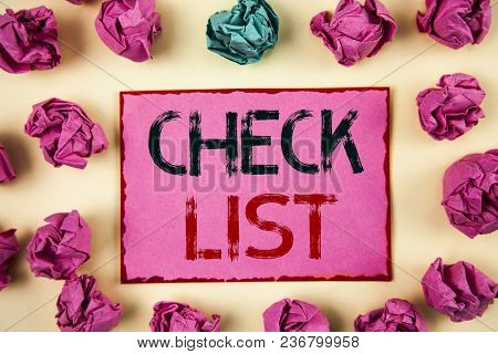 Writing Note Showing  Check List. Business Photo Showcasing Items Required Things To Be Done Points