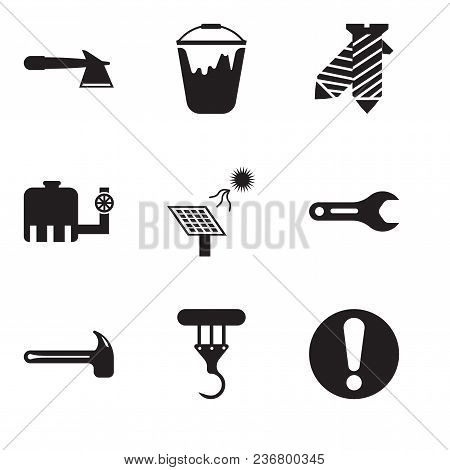 Set Of 9 Simple Editable Icons Such As Exclamation, Crane, Hammer, Pipe Wrench, Solar Battery, Water