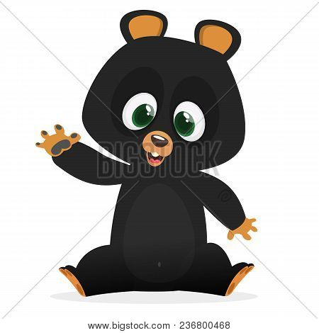 Cartoon Happy Himalayan Black Bear. Big Collection Of Cartoon Forest Animals. Vector Illustration