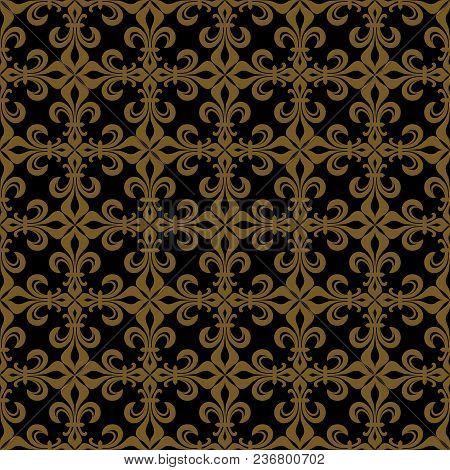 Lace-de-luce (lace Of Lilies), Rich Francophile Bronze Seamless Pattern