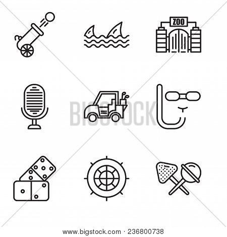 Set Of 9 Simple Editable Icons Such As Candy, Roulette, Domino, Diving Mask, Golf Car, Microphone, Z