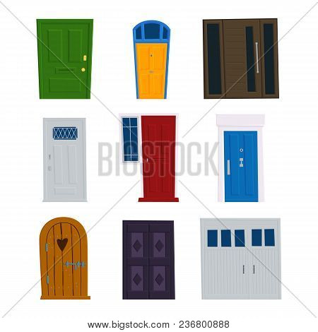 Set Of Vector Doors, Front Facade Entrance To Buildings And Houses With Lock, Eye, Door Handle. Flat