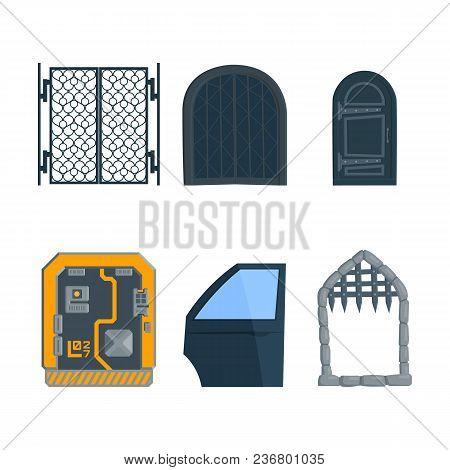 Sci-fi Door With Keypad.car Door, Lock Gate, Iron Door, Iron Gate. Flat Set Vector Illustration In C