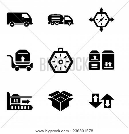 Set Of 9 Simple Editable Icons Such As Up Arrows Couple, Package For Delivery, Package On Rolling Tr