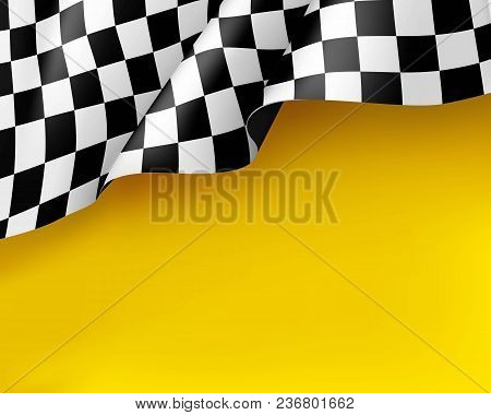 Symbol Racing Canvas Realistic Yellow Background. Flag Upright, Sign Marking Start And Finish. Vecto